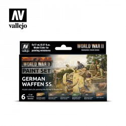 Set Model color y wargame WWII German Waffen SS. 6 Botes 17 ml. Marca Vallejo. Ref: 70207.