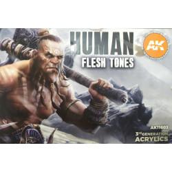 Sets Acrílicos de 3rd Generación Human Flesh Tones. 6  Botes 17 ml. Marca Ak-Interactive. Ref: Ak11603.