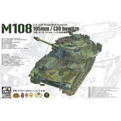 U.S. Self-Propelled Howitze M108 105mm/L30 howitze. Escala 1:35. Marca AFV Club. Ref: 35108.