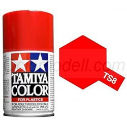 Spray Rojo Italiano brillante, Italian Red (85008). Bote 100 ml. Marca Tamiya. Ref: TS-8.