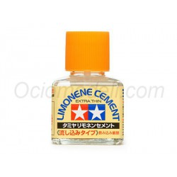 Cement Limonene Extra Thin, Adhesivo de Polistireno. Bote de 40 ml. Marca Tamiya. Ref: 87134.