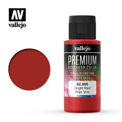 Premium Rojo Vivo. Premium Airbrush Color. Bote 60 ml. Marca Vallejo. Ref: 62005.