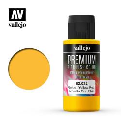 Premium Amarillo Dorado Fluoresecente. Premium Airbrush Color. Bote 60 ml. Marca Vallejo. Ref: 62032.