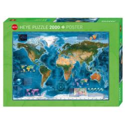 Imagen Satélite del Mundo, 97 x 69 cm. Puzzle horizontal, 2000 pz. Marca Heye. Ref: 29797.