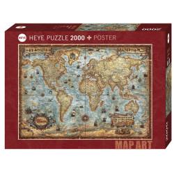 Mapa world. Puzzle horizontal, 2000 pz. Marca Heye. Ref: 29845.