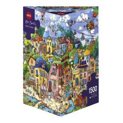Happy Town. Puzzle Triángular, 1500 pz. Marca Heye. Ref: 29744.