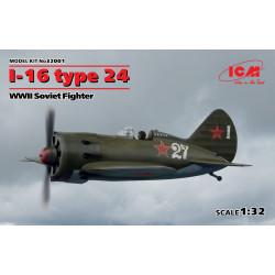 I-16 Type 24, WWII Soviet fighter. Escala 1:32. Marca ICM. Ref: 32001.