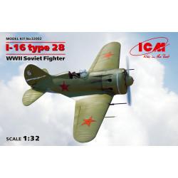 I-16 Type 28, WWII Soviet fighter. Escala 1:32. Marca ICM. Ref: 32002.