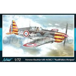 "Morane-Saulnier. MS.406C1. ""Red y Yellow  Stripes "" Escala 1:72. Marca Azur. Ref: A114."