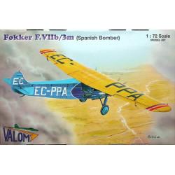 Fokker F.VIIb/3m ( Spanish Bomber). Escala 1:72. Marca Valom. Ref: 72064.