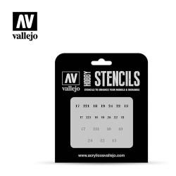 Stencils Numerales Rusos WWII. Marca Vallejo. Ref: ST-AFV003.