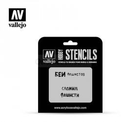 Stencils Eslóganes Rusos WWII nº 1. Marca Vallejo. Ref: ST-AFV004.