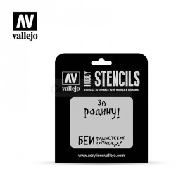Stencils Eslóganes Rusos WWII nº 2. Marca Vallejo. Ref: ST-AFV005.