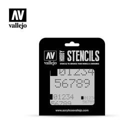 Stencils Números Digitales. Marca Vallejo . Ref: ST-SF004.