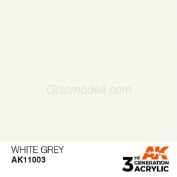 Acrílicos de 3rd Generación, WHITE GREY– STANDARD. Bote 17 ml. Marca Ak-Interactive. Ref: Ak11003.