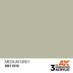 Acrílicos de 3rd Generación, MEDIUM GREY – STANDARD. Bote 17 ml. Marca Ak-Interactive. Ref: Ak11010.