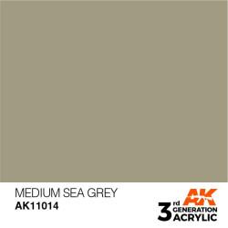 Acrílicos de 3rd Generación, MEDIUM SEA GREY – STANDARD. Bote 17 ml. Marca Ak-Interactive. Ref: Ak11014.