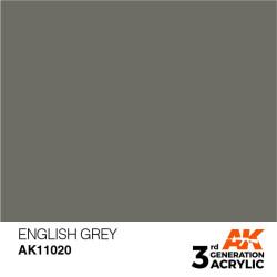 Acrílicos de 3rd Generación, ENGLISH GREY– STANDARD. Bote 17 ml. Marca Ak-Interactive. Ref: Ak11020.