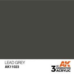 Acrílicos de 3rd Generación, LEAD GREY– STANDARD. Bote 17 ml. Marca Ak-Interactive. Ref: Ak11023.