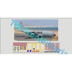 """Calcas Avión LOCKHEED C-130 HERCULES 31-54, decoración """"gris ALA 31"""". Escala 1:48. Marca Trenmilitaria. Ref: 000_5005."""