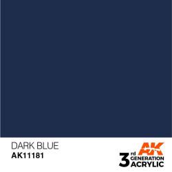 Acrílicos de 3rd Generación, DARK BLUE – STANDARD. Bote 17 ml. Marca Ak-Interactive. Ref: Ak11181.