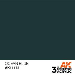Acrílicos de 3rd Generación,  OCEAN BLUE – STANDARD. Bote 17 ml. Marca Ak-Interactive. Ref: Ak11173.