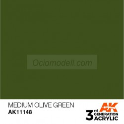 Acrílicos de 3rd Generación,  MEDIUM OLIVE GREEN – STANDARD. Bote 17 ml. Marca Ak-Interactive. Ref: Ak11148.