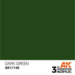 Acrílicos de 3rd Generación,   DARK GREEN – STANDARD. Bote 17 ml. Marca Ak-Interactive. Ref: Ak11146.