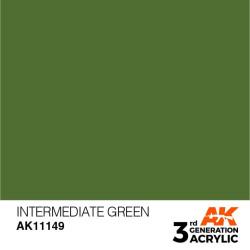 Acrílicos de 3rd Generación,   INTERMEDIATE GREEN – STANDARD. Bote 17 ml. Marca Ak-Interactive. Ref: Ak11149.