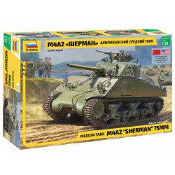 "Medium Tank M4A2 "" SHERMAN "" 75 mm. Escala 1:35. Marca Zvezda. Ref: 3702."
