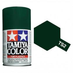 Spray VERDE OSCURO MATE (85002). Bote 100 ml. Marca Tamiya. Ref: TS-2.