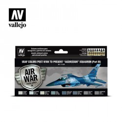 """Set Model air post WWII to present """"Aggressor"""" Squadron (Part III). 8 Colores. Bote 17 ml. Marca Vallejo. Ref: 71618."""