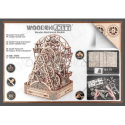 Noria, madera contrachapada, Kit de montaje. Marca Wooden City. Ref: 57306.