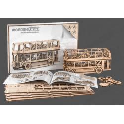 Autobús de Londres, madera contrachapada, Kit de montaje. Marca Wooden City. Ref: 57303.