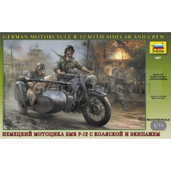 German motorcycle R-12 with sidecar and crew. Escala 1:35. Marca Zvezda. Ref: 3607.