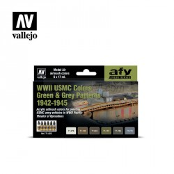 Set Model air, WWII USMC Colors Green & Grey Patterns 1942-1945. 6 Colores. Bote 17 ml. Marca Vallejo. Ref: 71623.