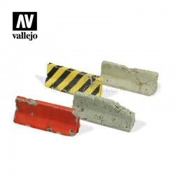 Barreras de cemento Dañadas. Escala 1:35. Marca Vallejo. Ref: SC215.