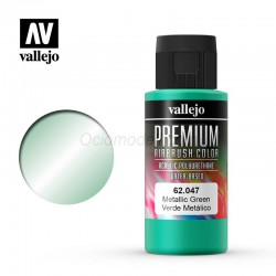 Verde Metálico. Premium Airbrush Color. Bote 60 ml. Marca Vallejo. Ref: 62047.
