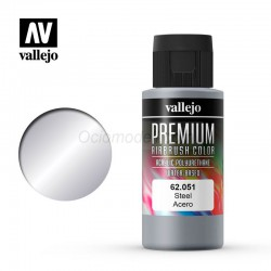 Acero. Premium Airbrush Color. Bote 60 ml. Marca Vallejo. Ref: 62051.