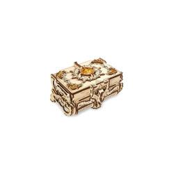 Joyero con perlas de ámbar, madera contrachapada, Kit de montaje. Marca Ugears, Ref: 70090.