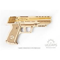 Pistola Wolf-01. Madera contrachapada, Kit de montaje. Marca Ugears, Ref: 70047.