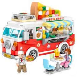 Furgoneta Pizza truck Loz 491 piezas. Kit construction blocks. Marca Loz. Ref: 401739.