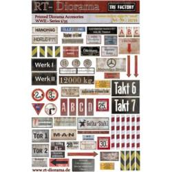 "Accesorios impresos: letreros de fábrica alemana IV ""pequeños"". Escala 1:35. Marca RT-DIORAMAS. Ref: 35755."