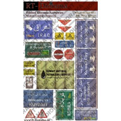 Accesorios impresos: conjunto de señales de tráfico iraquíes n. ° 1. Escala 1:35. Marca RT-DIORAMAS. Ref: 35732.