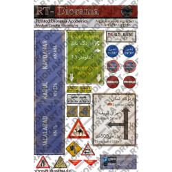 Accesorios impresos: conjunto de señales de tráfico afganas n. ° 1. Escala 1:35. Marca RT-DIORAMAS. Ref: 35730.