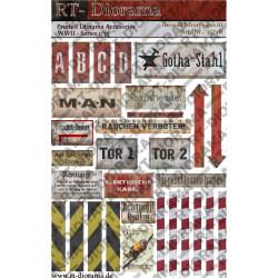 Accesorios impresos: Letreros de fábrica alemana III. Escala 1:35. Marca RT-DIORAMAS. Ref: 35748.