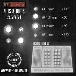 Impresión de resina 3D: tuercas y tornillos . Escala 1:35. Marca RT-DIORAMAS. Ref: 35651.
