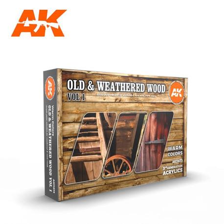 Set acrilicos 3D, para tonos de madera y madera vieja, Vol.1. Marca AK Interactive. Ref: AK11673.