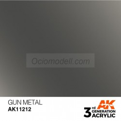 Acrílicos de 3rd General, GUN METAL – METALLIC. Bote 17 ml. Marca Ak-Interactive. Ref: Ak11212.