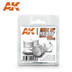 MIX N' READY GLASS 10ml. 4 Botes. Marca AK Interactive. Ref: AK620.